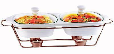 Palais Dinnerware Buffet Double Covered Ceramic Casserole Dish with Warming...