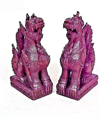 Pair of Asian Burmese Style Carved Foo Dog Figures (19/20th Cent.)