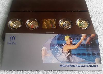 2002 Commonwealth Games Piedfort £2 Two Pound Silver Proof 4 Coin Set Box & COA