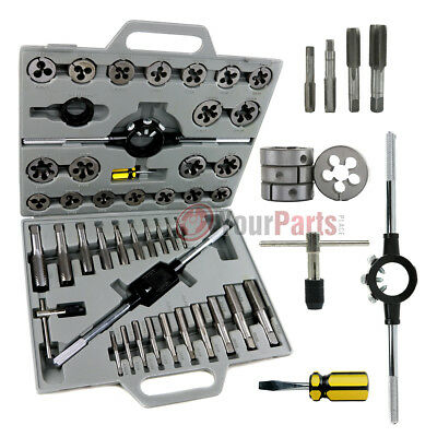 45 Pc Tap and Die Set Standard SAE Tungsten Steel Alloy Renewing Tools Re-Thread
