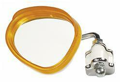 Legshield Clamp On Mirror Orange Amber Kidney Shape Fit's Lambretta & Vespa