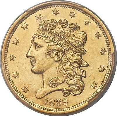 1838 Classic Gold Half Eagle $5 PCGS MS62 Rare Certified Gold Coin
