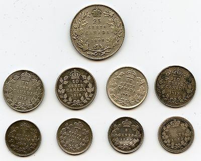 9 Genuine Different Old Canada Silver Coins   5 Cent, 10 Cent, & 25 Cents