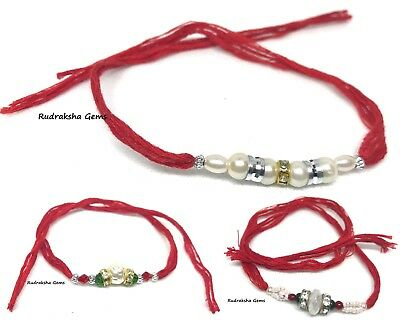 Rakhi Indian Wrist Band Festival Rakhadi Rakhari Hindu Om Pearl Fancy Long Cord