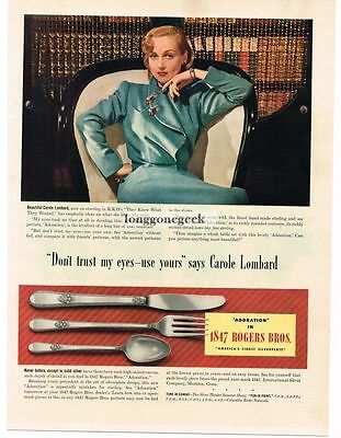 1940 1847 Rogers Bros Adoration Silverware Carole Lombard Vtg Print Ad