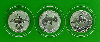 Great White, Hammerhead and Tiger Shark 1/2 oz 999 Fine Silver coins in Capsules