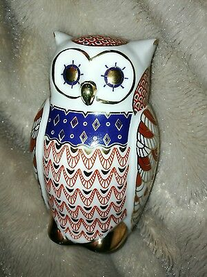 royal crown derby paperweight look owl gilt red blue white