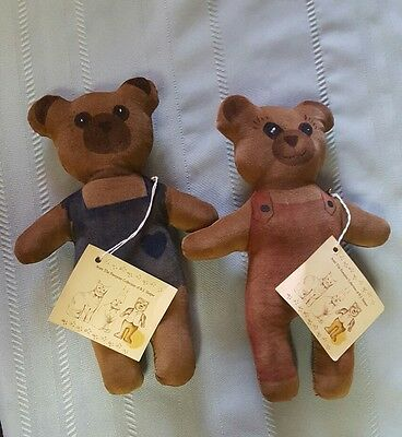 Vintage? Rare? Teddy Bear  Doll Hand Painted & Sewn Signed B.J. Sleeper Lot of 2