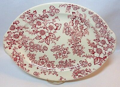 "Taylor Smith & Taylor DOGWOOD PINK OVAL SERVING PLATTER 12"" Cream Base #12531"