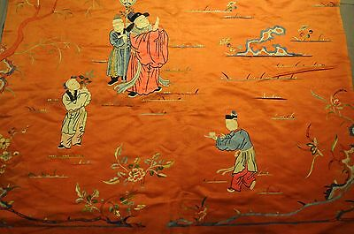 Antique Chinese Silk Embroidery, 19th century, extremely fine work, nice colours