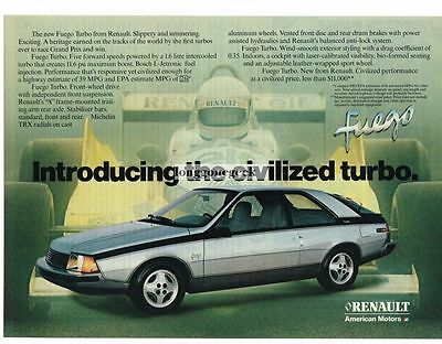 1982 Renault Fuego Turbo Silver Coupe Vtg Print Ad