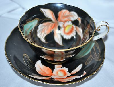 Vintage WAKO Occupied Japan BLACK Gold Orchid Floral Cup and Saucer
