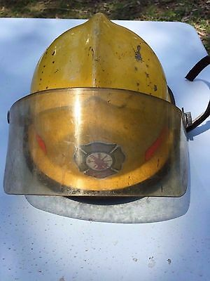Fire Helmet Hat Cairns and Brother INC Yellow With Visor