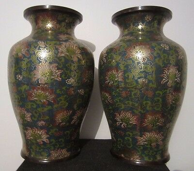 Antique Large Pair Of Chineses Cloisonne Vases
