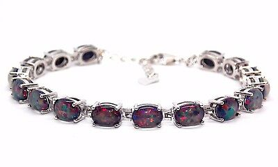 Sterling Silver Black Fire Opal Oval Cut 20.28ct Tennis Bracelet (925)