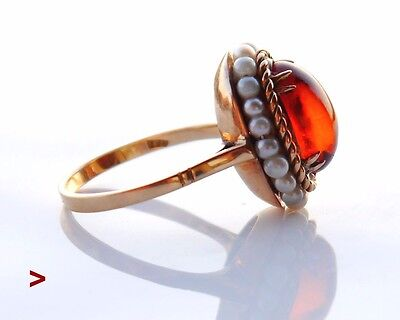 Antique Vintage European Ring solid 18K 4ct Amber Pearls Gold Size 7.5 US / 3.7