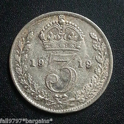 1919 Threepence 3 Pence 3D Silver Coin King George V  - Coin As Pictured Quality