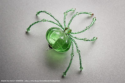 Large Mint Green Beaded Christmas Spider - Spring and Summer - Mothers Day Gift