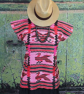 Black Red & Pink Usila Huipil Blouse Hand Woven Oaxaca Mexico Hippie Boho Frida