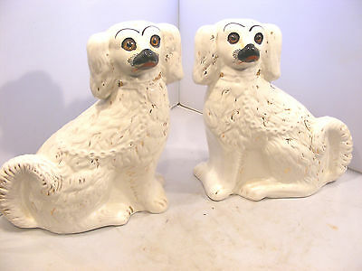 Pair Of Antique Staffordshire Dogs Glass Eyes