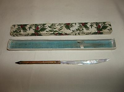Vintage Mother Of Pearl Handle Letter Opener Dip Pen Gold Plated #2 Nib