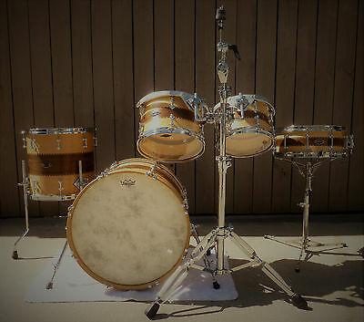 Craviotto Custom Hybrid Stacked Solid Shell 5 Piece Drum Set Maple/Walnut/Maple