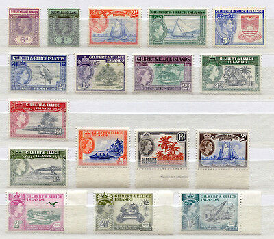 Gilbert & Ellice Islands Set of 17 mostly mint MNH stamps 1912-60 - FREE UK POST