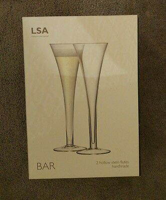 LSA Handmade hollow stem flutes wine champagne glass