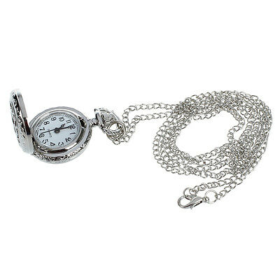 Durable Ladies Cut out Flower Pattern Hunter Case Necklace Watch Silver Tone PK