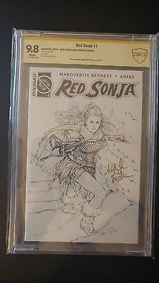 Red Sonja #1 - AOD Collectables B&W Variant - 1 of 200 - CBCS Graded 9.8 Sig Ser