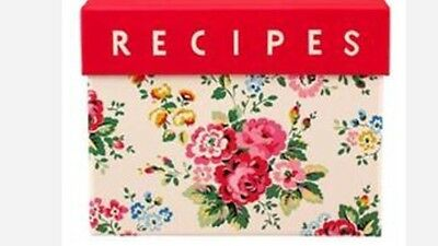 Cath Kidston Spray Flowers Recipe Box Holder With File Cards