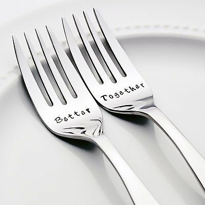 Better / Together - Stainless Steel Hand-Stamped Wedding Fork Set