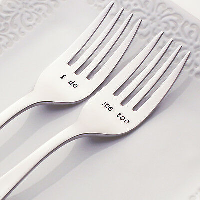 i do / me too - Stainless Steel Hand-Stamped Wedding Fork Set