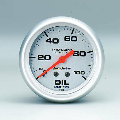 AU4421 AutoMeter Ultra-Lite Analog Gauge Oil Pressure, 0-100 psi, 2 5/8 in