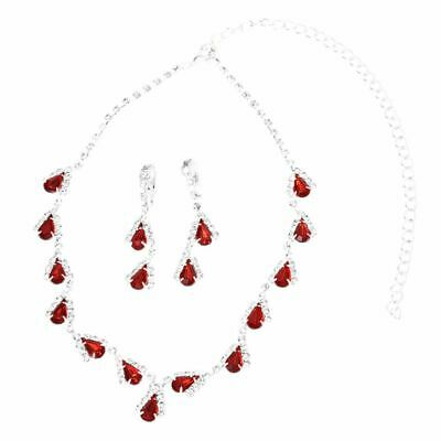 Jewelry Set Bridal Wedding Red Teardrop Pearls Crystal Necklace Earrings  PK