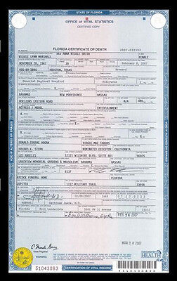Anna Nicole Smith DEATH CERTIFICATE,Playboy HOT, PERFECT Document, TRAGIC DEATH