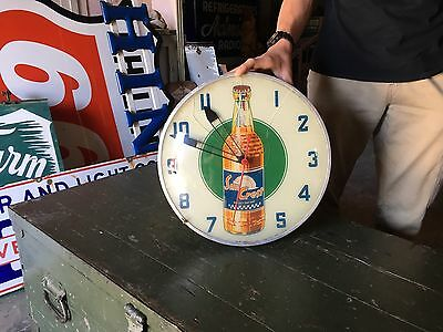 Original Vintage 1950's Sun Crest Soda Pop Advertising Bubble Glass Clock!