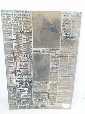 Newspaper Print Plate Vtg 1970s Large Rustic Home Decor Airplane Advertisement