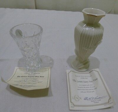 Lenox Etched Lead Crystal Iris & Star Vase Lot of 2 COA's • $2.00