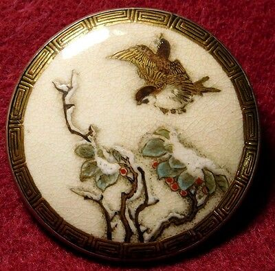 XLG ANTIQUE Satsuma POTTERY Pin BROOCH ~SPARROW IN Snow BERRIES