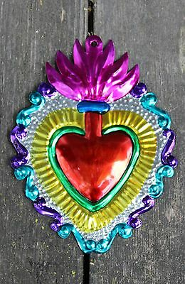 Tin Milagros Ornaments Sacred Heart Flames Hand Made Mexican Folk Art Love Token