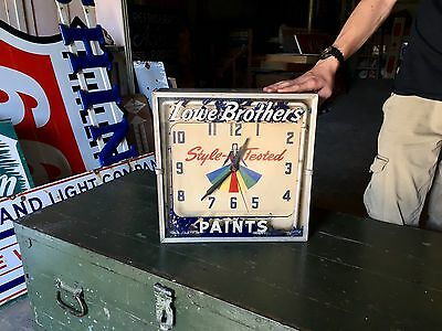 Original Rare 1950's Lowe Brother's Paints Neon Advertising Clock Gas Oil Nice!