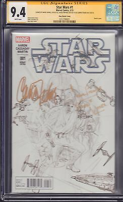Star Wars #1 Alex Ross Sketch CGC SS Triple Signed!! Hamil-Fisher-Prowse!