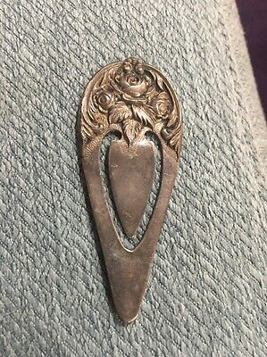 "Sterling Silver, S Kirk & Son Rose Repousse Bookmark, 2 1/2"" h, 1"" wide, Unused"