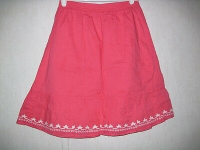 Gymboree Skirt Girl's Size 12 Elastic Waist Pink White Embroidery 100% Cotton