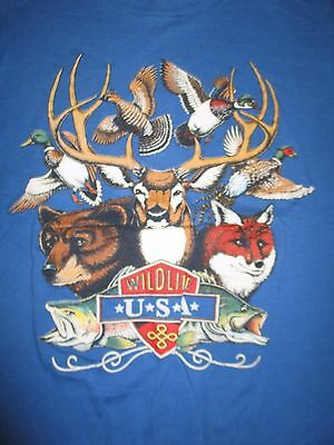 Vintage WILDLIFE USA (XL) T-Shirt DUCKS BEAR TROUT FOXES ELK PHEASANTS