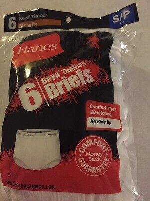 6 Hanes Boy's White Cotton Briefs Underwear  -  Size 6-8 S/P