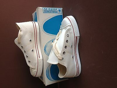 Converse, USA made, WHITE, Old Store Stock, in Original Box. Boys size 1 1/2