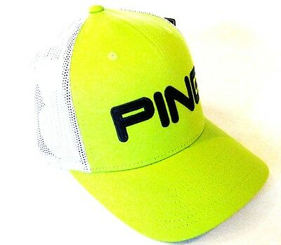 New! PING Tour Mesh / Trucker Hat Cap Limelite with Blue Snap Back 33074-02