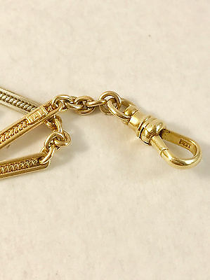 """14k solid gold  vintage two tone (yellow/white) pocket watch chain14.5"""" long"""
